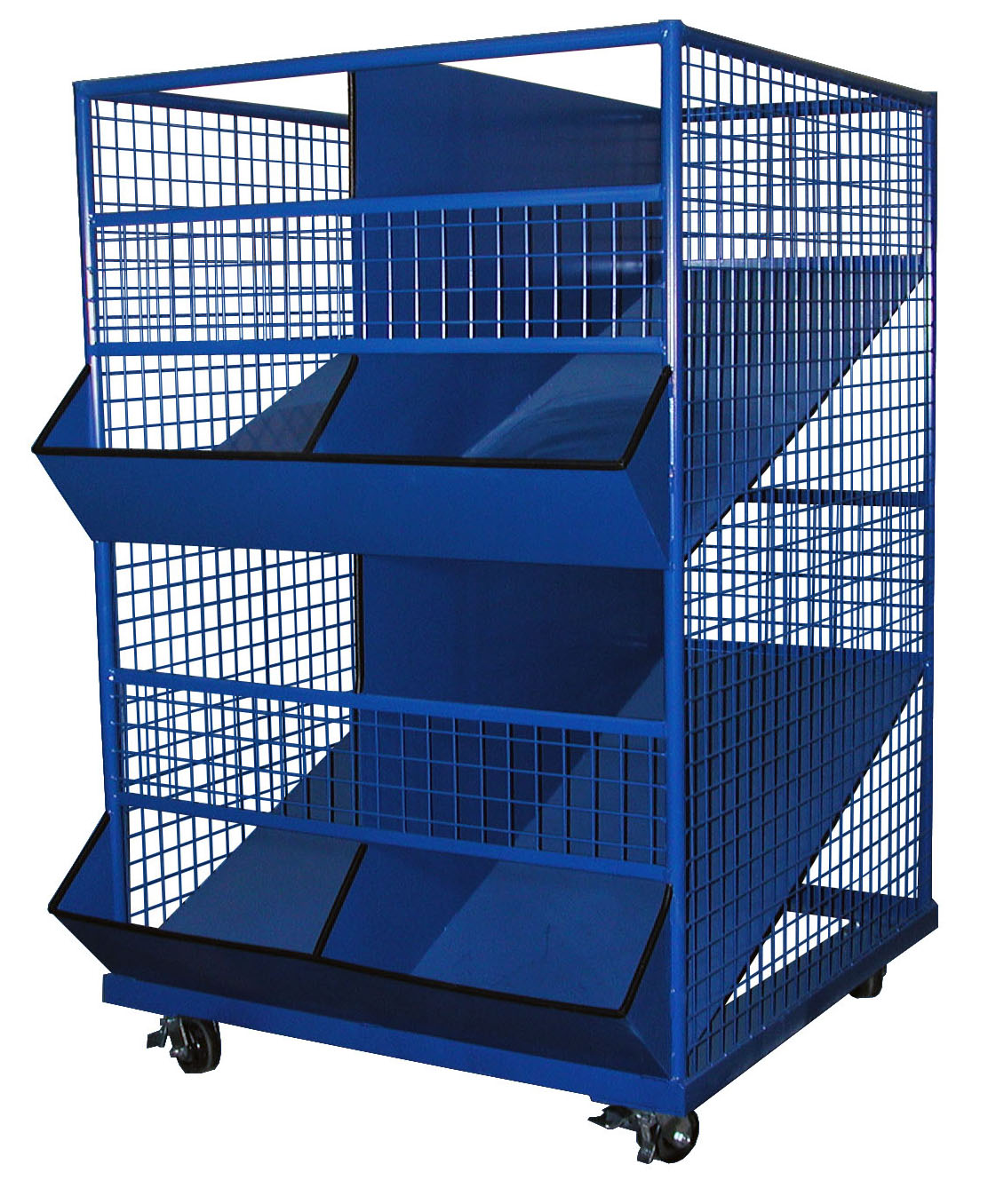 4 Section Utility Bin Cart 2 Shelves George O Day S Inc
